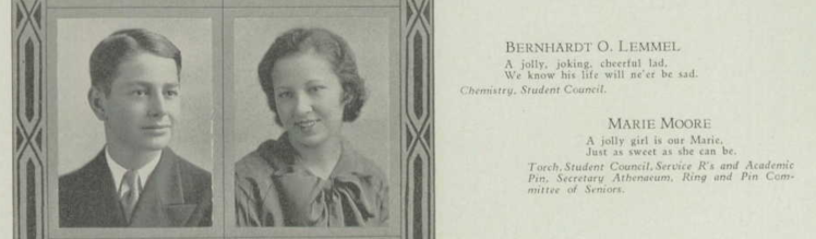 Bernhardt Lemmel yearbook photo 1934