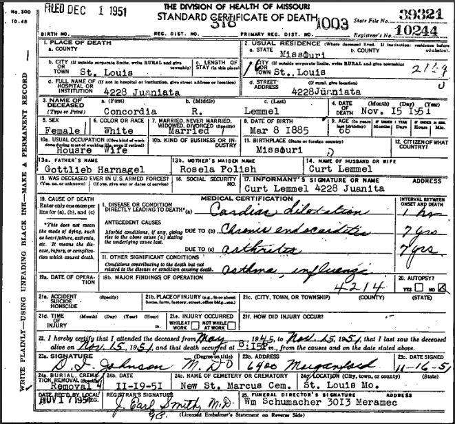 Concordia Lemmel death certificate