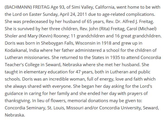 Doris Bachmann Freitag obituary