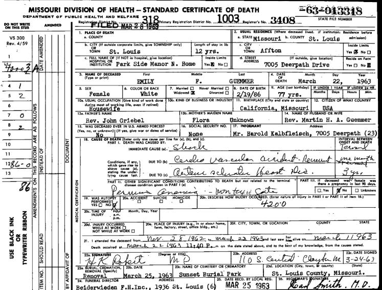 Emily Griebel Guemmer death certificate