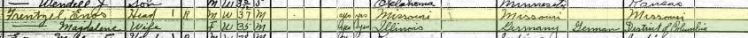 Enos Frentzel 1920 census Union OK