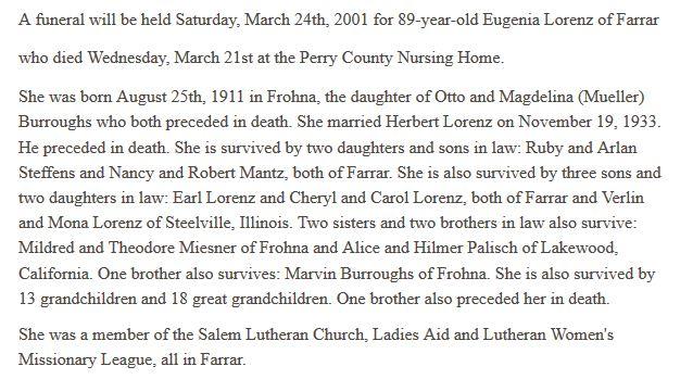 Eugenia Lorenz obituary