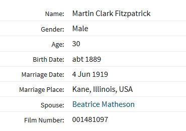 Fitzpatrick Matheson marriage record