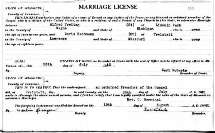 Freitag Bachmann marriage license
