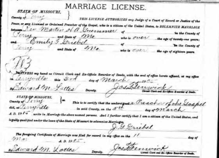 Guemmer Griebel marriage license