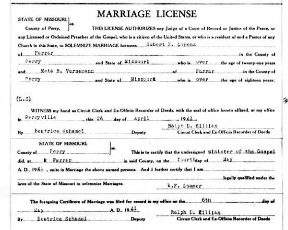 Hubert Lorenz Versemann marriage license