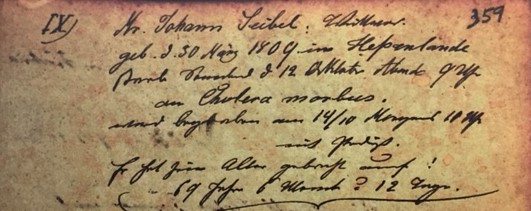 Johann Seibel death record Immanuel Altenburg