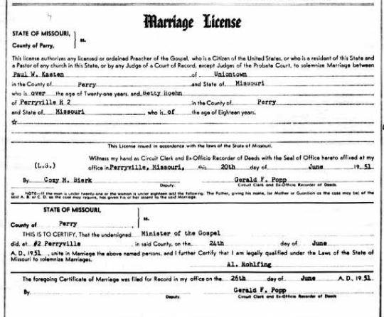 Kasten Hoehn marriage license