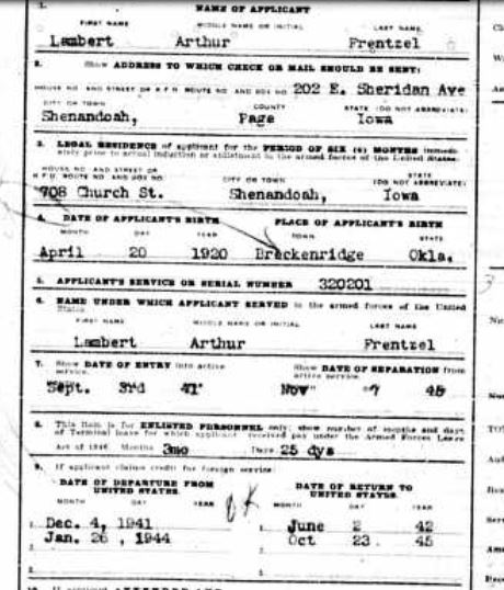 Lambert Frentzel military record