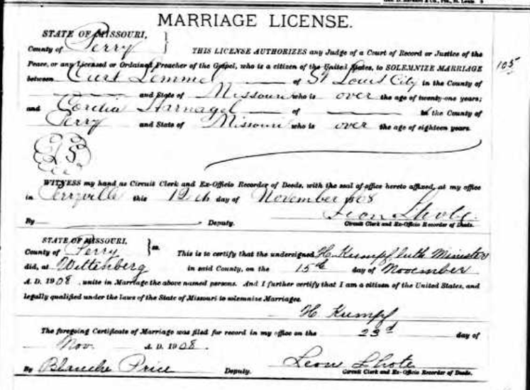 Lemmel Harnagel marriage license