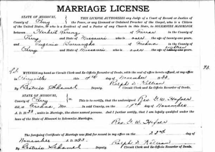 Lorenz Burroughs marriage license