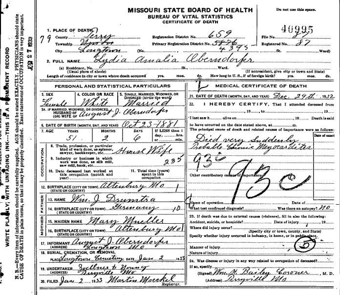 Lydia Oberndorfer death certificate