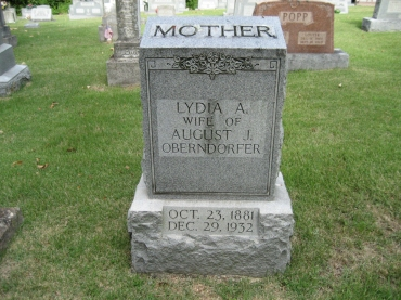 Lydia Oberndorfer gravestone Zion Longtown MO