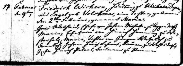 Maria Wichern baptism record Scheezel