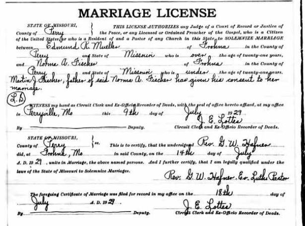 Mueller Fischer marriage record