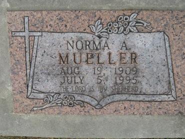 Norma Fischer Mueller gravestone Concordia Frohna