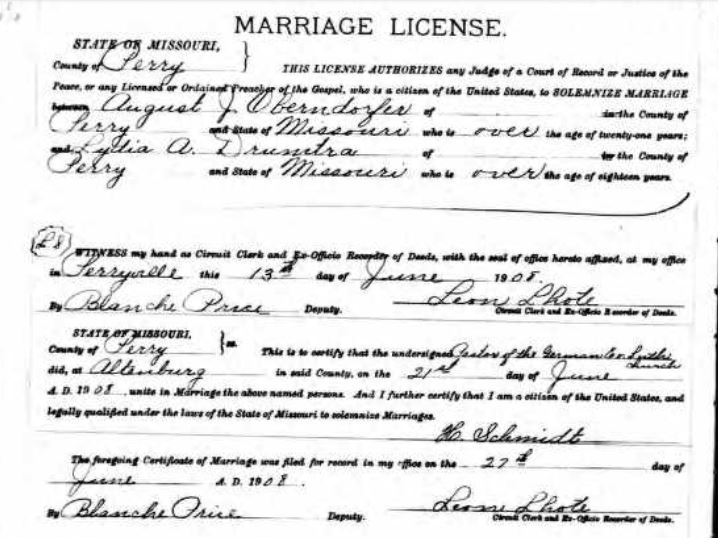 Oberndorfer Drumtra marriage license