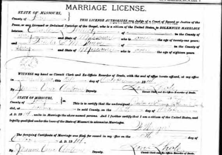 Palisch Stueve marriage license