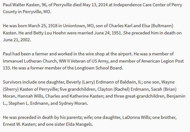 Paul W Kasten obituary