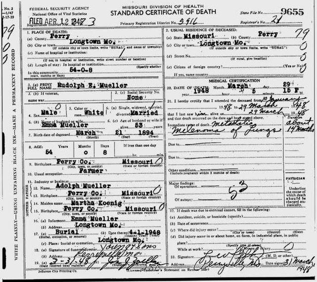Rudolph Eugene Mueller death certificate