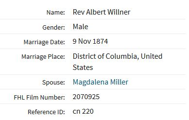 Willner Miller marriage record