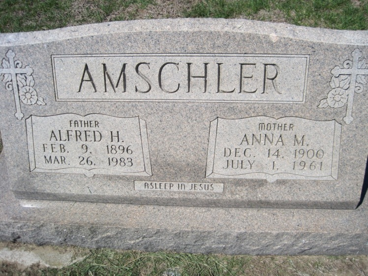 Alfred and Anna Amschler gravestone Christ, Jacob IL