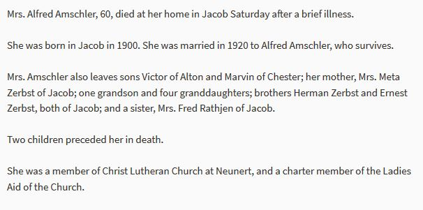 Anna Zerbst Amschler obituary