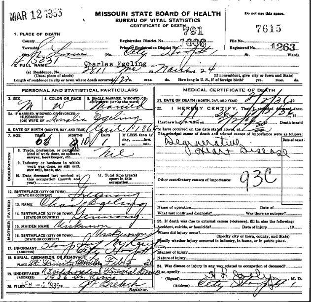 Charles Egeling death certificate
