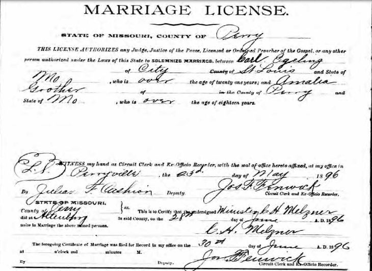 Egeling Grother marriage license