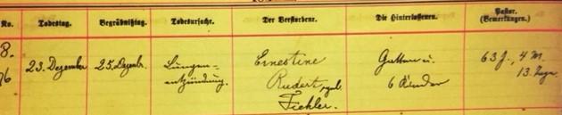 Ernestine Fiehler Rudert death record Grace Uniontown MO