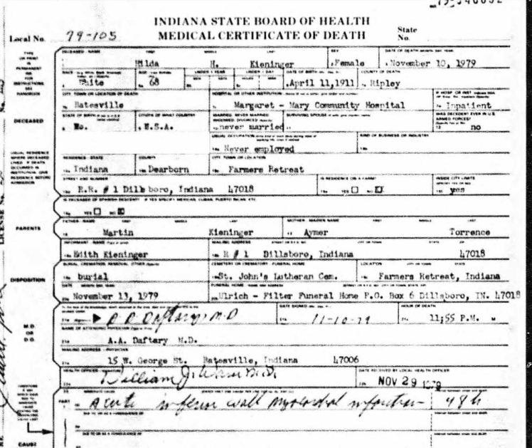 Hilda Kieninger death certificate Indiana