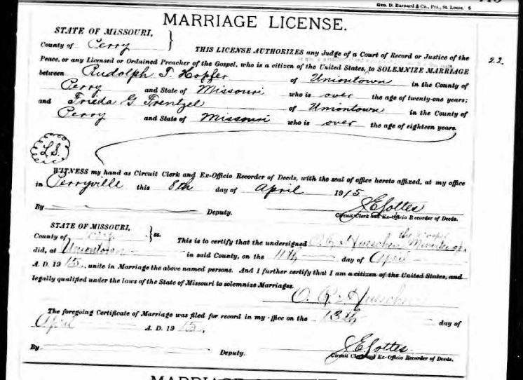 Hopfer Frentzel marriage license