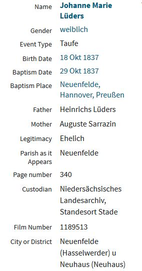 Johanne Marie Lueders baptism record transcription