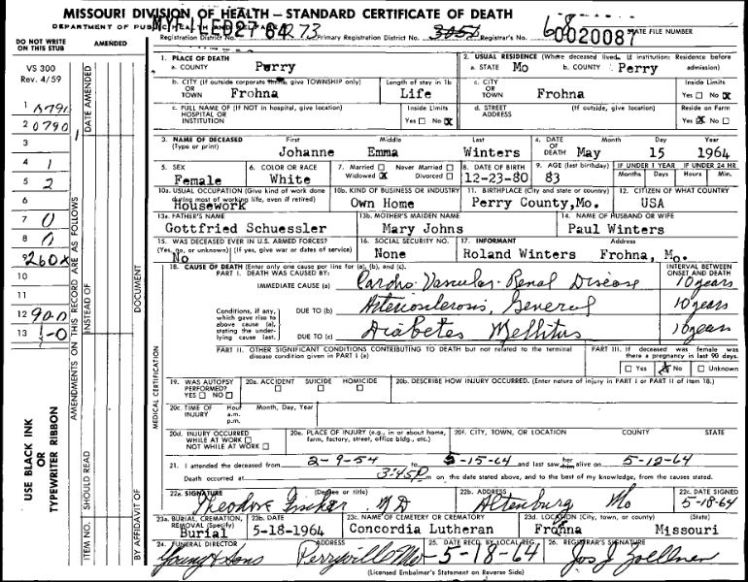 Johanne Winter death certificate