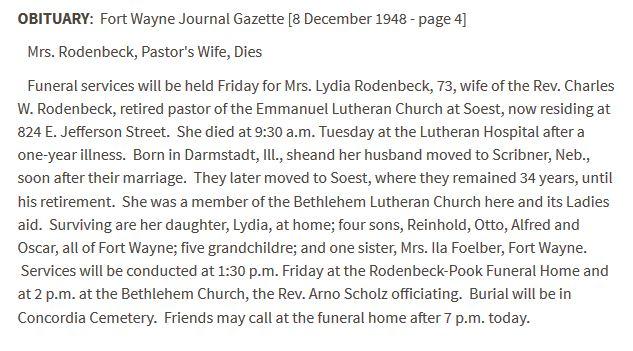 Lydia Bischoff Rodenbeck obituary