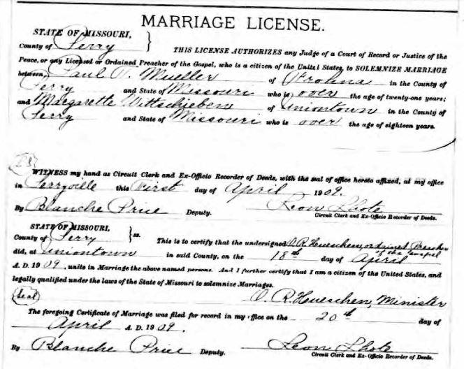 Mueller Wittschieben marriage license