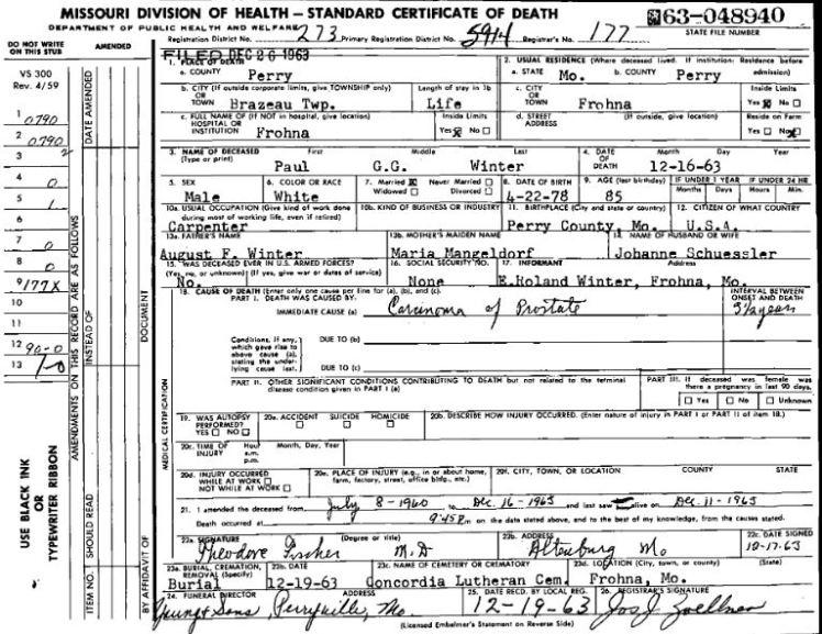 Paul Winter death certificate