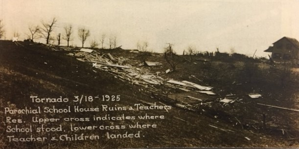 Ridge School wreckage Tri-State Tornado 1925