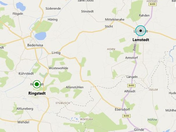 Ringstedt Lamstedt map