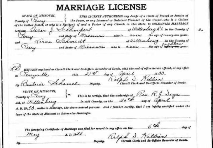 Schlimpert Schmidt marriage license