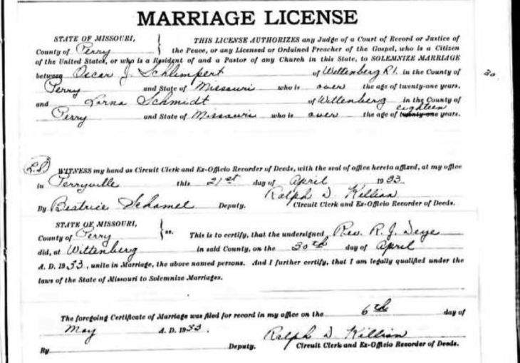 Schlimpert Schmidt marriage license