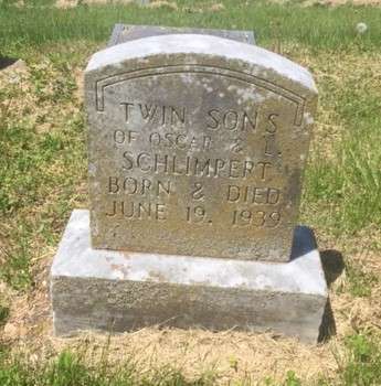 Schlimpert twins gravestone Trinity Altenburg MO