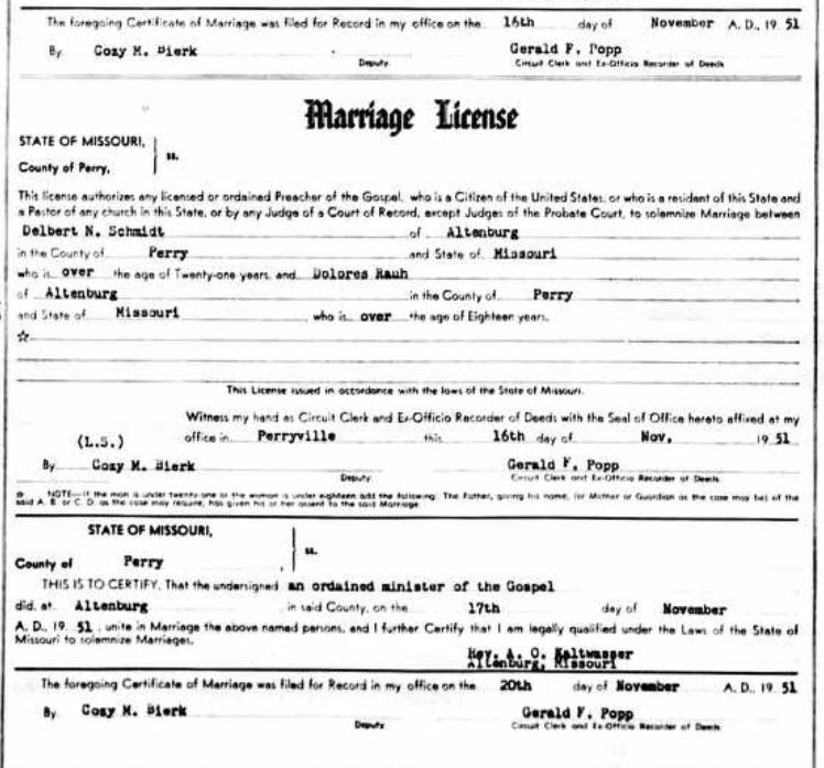 Schmidt Rauh marriage license
