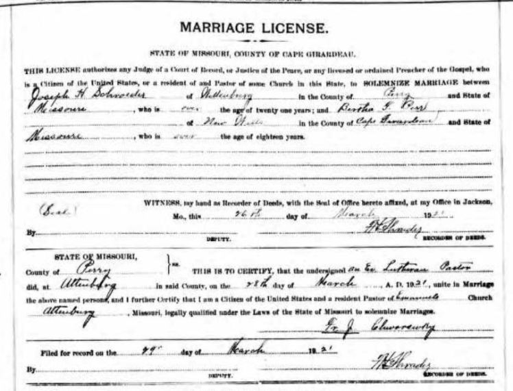 Schroeder Perr marriage license