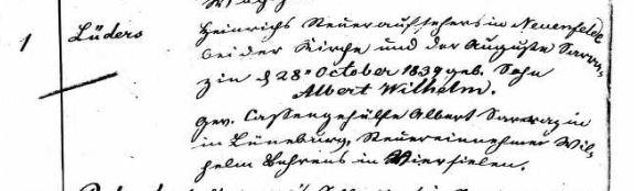 William Lueders baptism record Neuenfelde