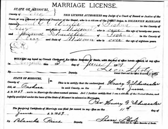 Winter Schuessler marriage license