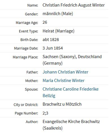 August Winter marriage record Brachwitz