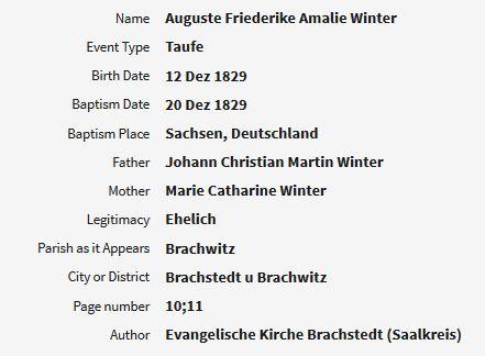 Augusta Frederika Amalie Winter baptism record Brachwitz