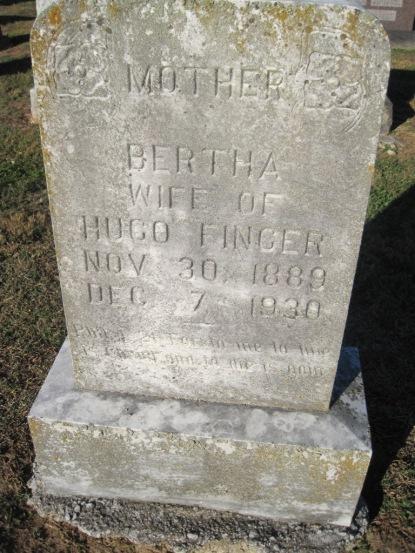 Bertha Finger gravestone Immanuel Altenburg