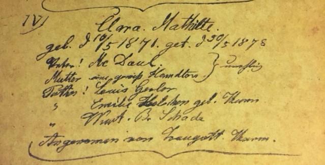 Clara McDaul Hampton baptism record Immanuel Altenburg